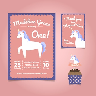 Birthday invitation, unicorn