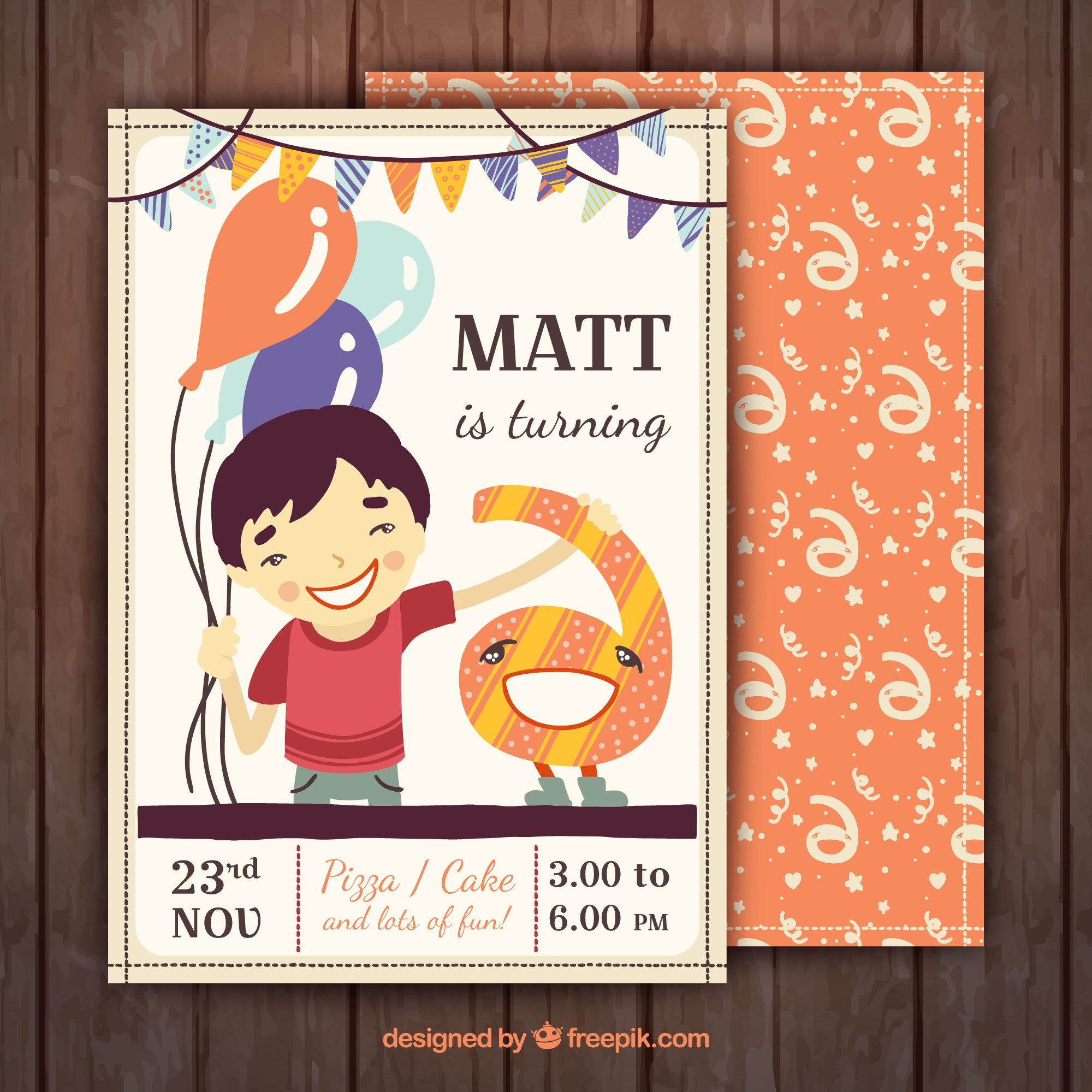 Birthday invitation with smiling boy and colorful decoration