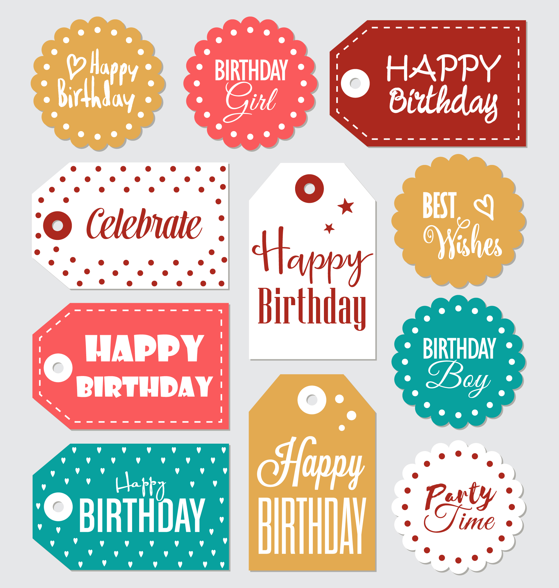Birthday labels collection