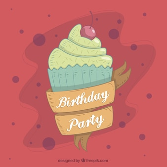 Birthday party background with cupcake