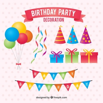 Birthday party elements decoration