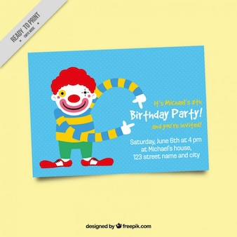 Birthday party invitation with clown