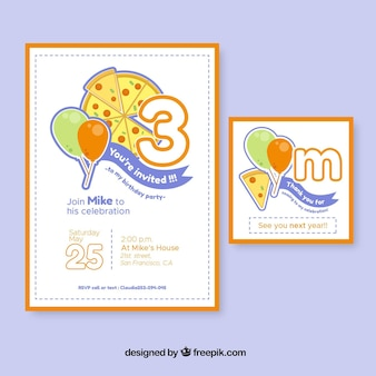 Birthday party invitations with pizza
