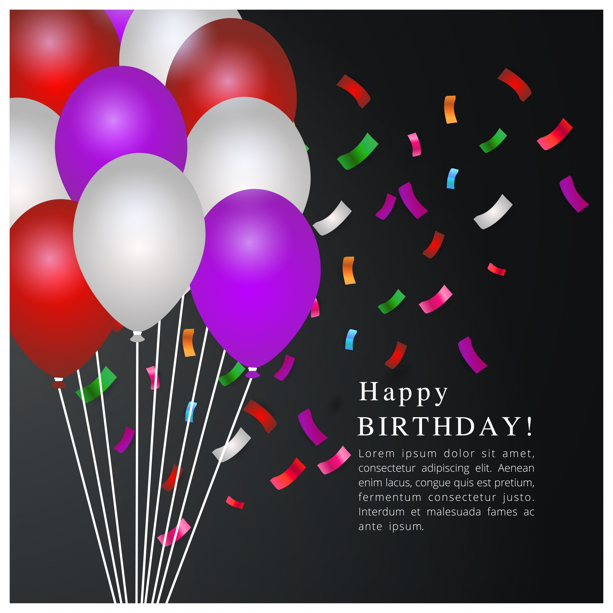 Birthday template with balloons