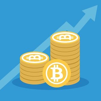 Bitcoinの概念オンラインで資金を調達し、ビットコインとブロックチェーンに投資する概念のベクトル図。新技術のフラットデザイン。