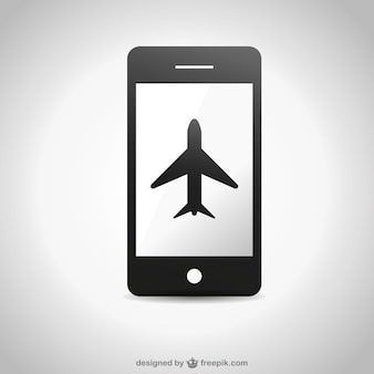 Black airplane in a smartphone screen