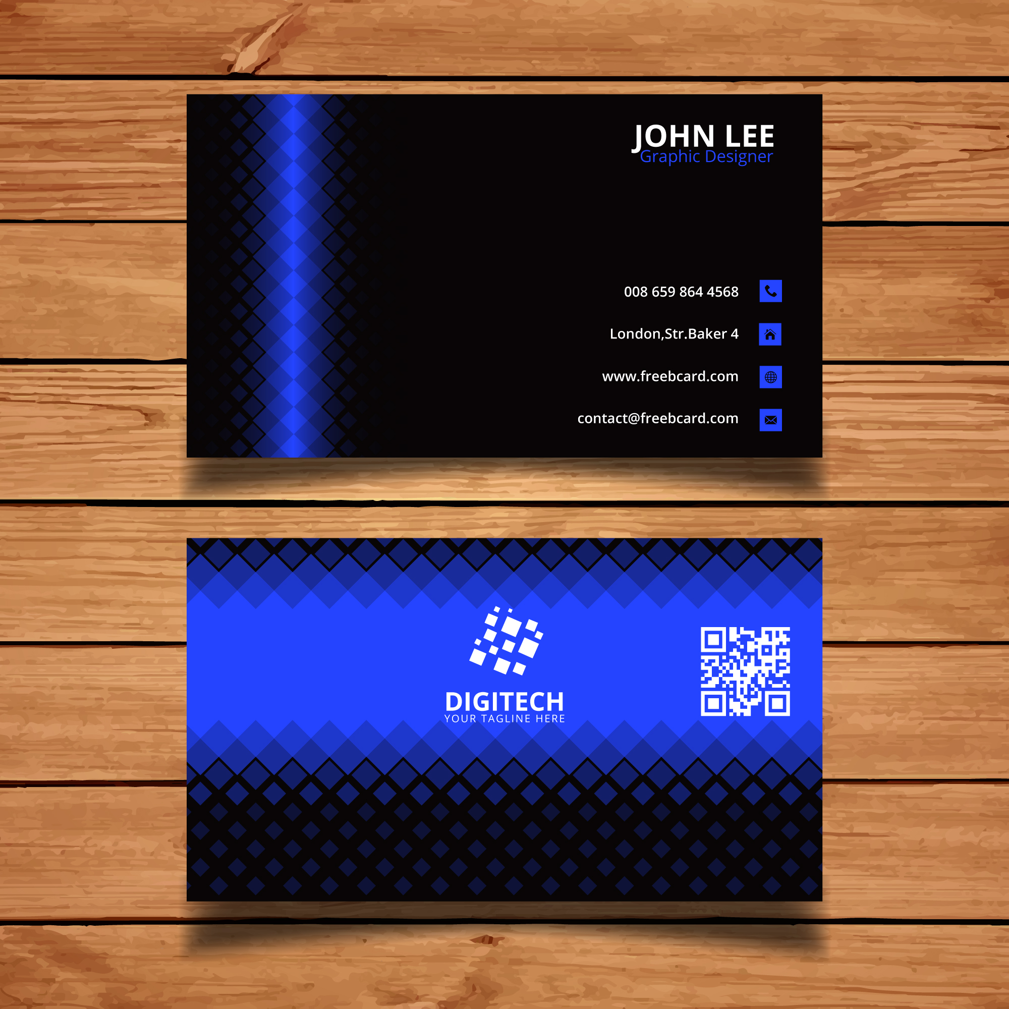 Black and blue corporate card with lights