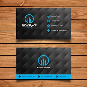 Black and blue modern business card template