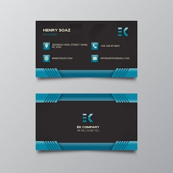 Black and dark blue business card