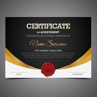 Black and gold certificate of achievement