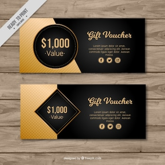Black and gold gift vouchers