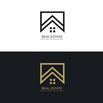 Black and gold real estate logo with a geometric shapes