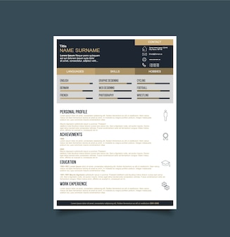imgfreepikcomfree vectorblack and gold resume