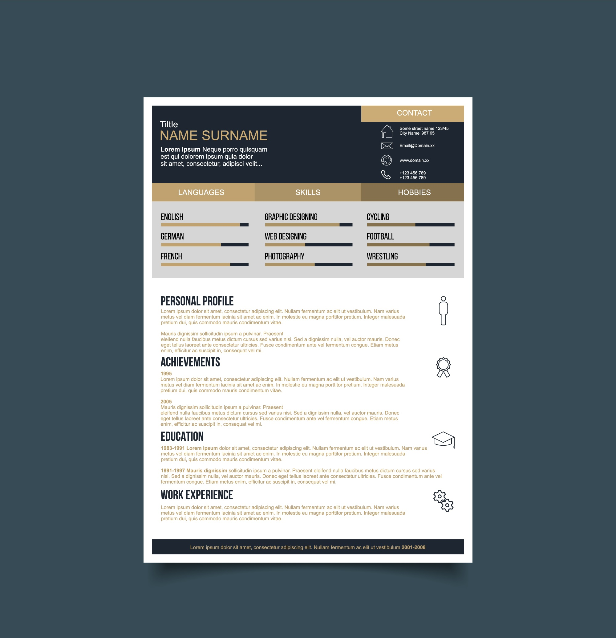 Black and gold resume template