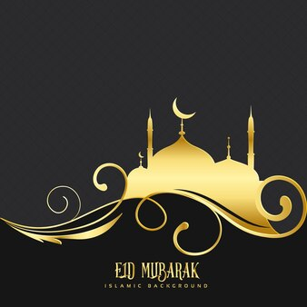 Black and golden design for eid mubarak
