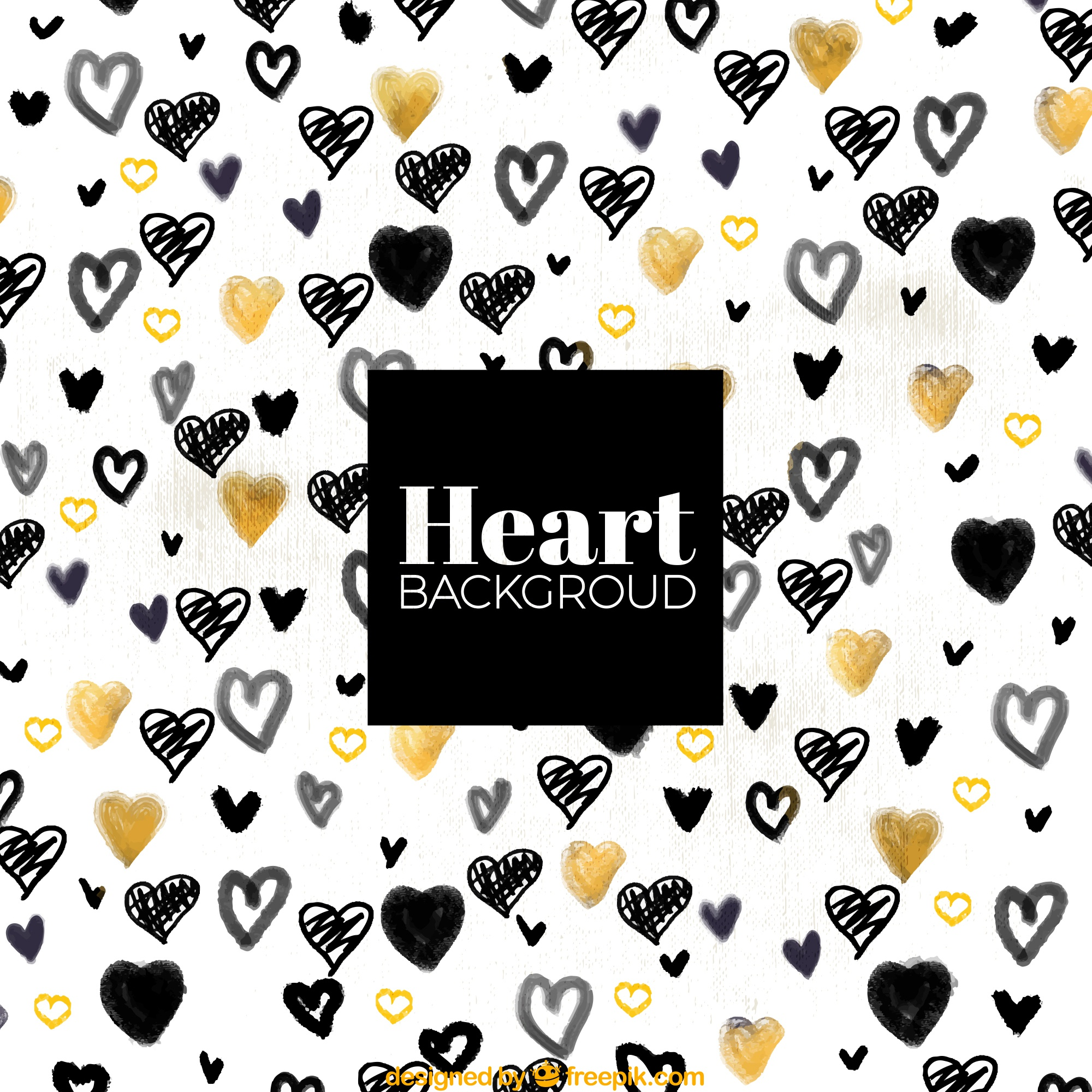 Black and golden hearts background