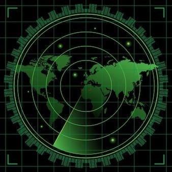 Black and green radar