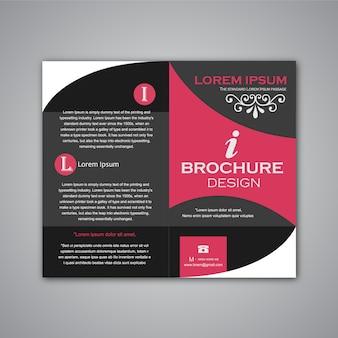 黒とピンクのパンフレットデザイン