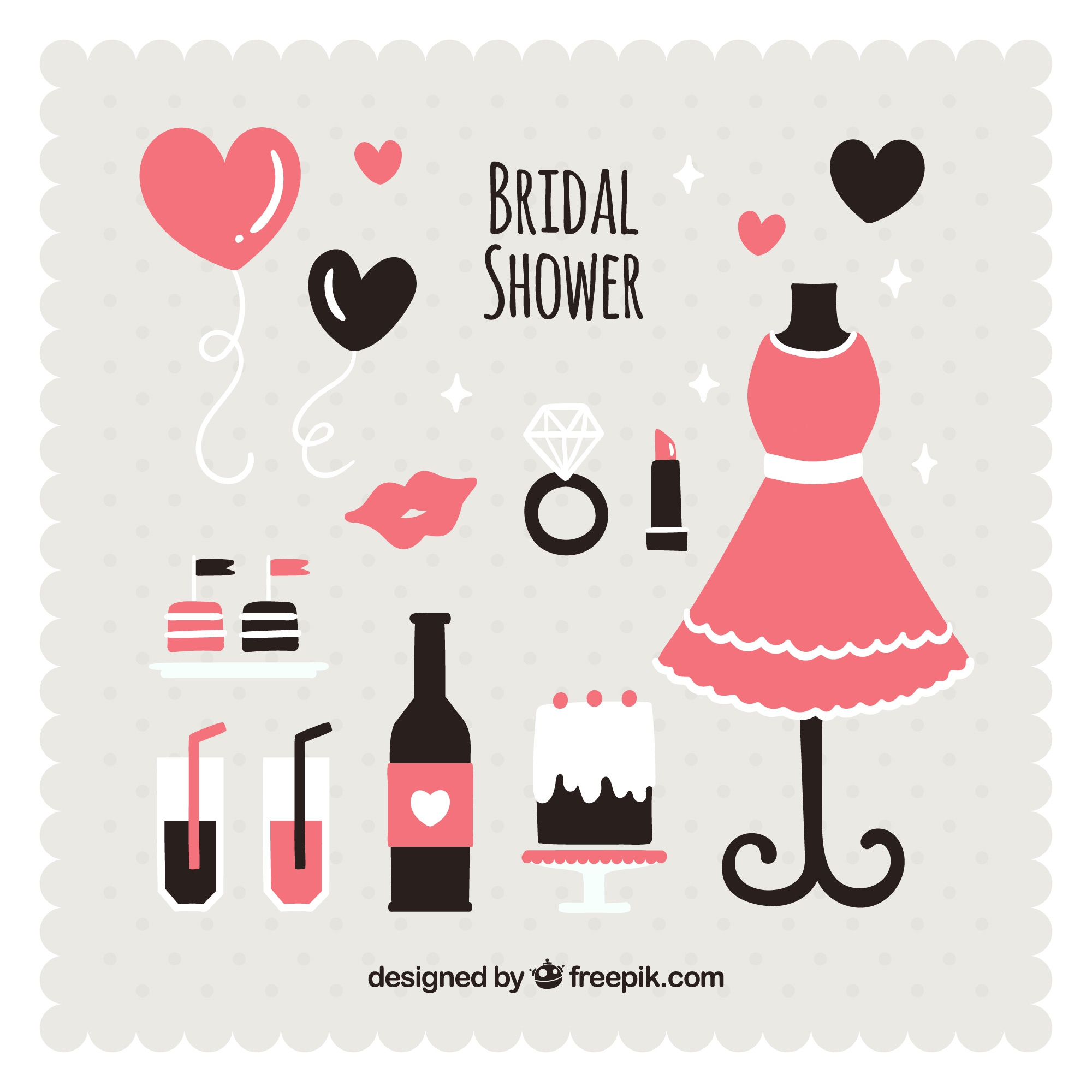 Black and pink wedding accessories in flat design