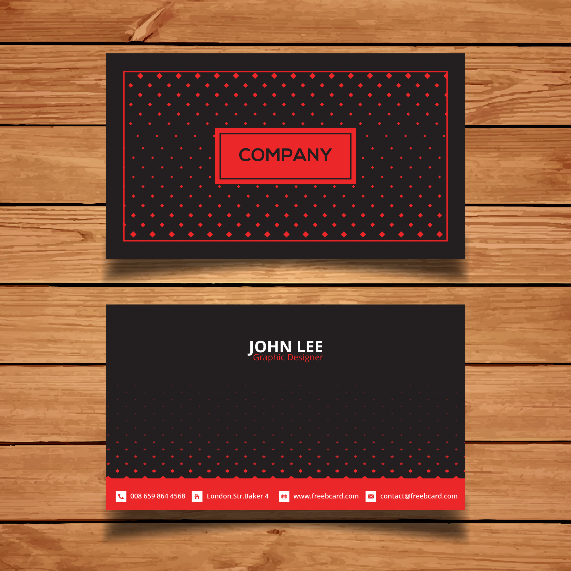 Black and red corporate card with dots