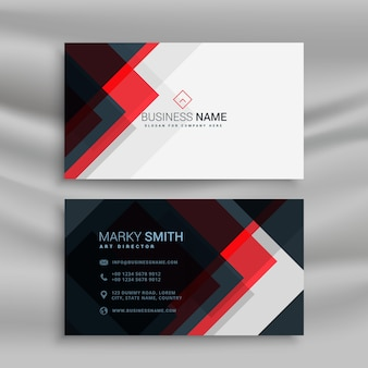 Black and red geometric business card