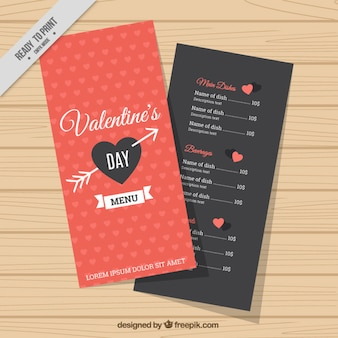 Black and red valentine's menu with white details