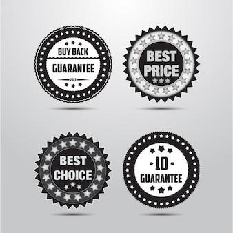 Black and white badges design