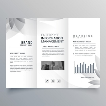 Black and white brochure with abstract shapes