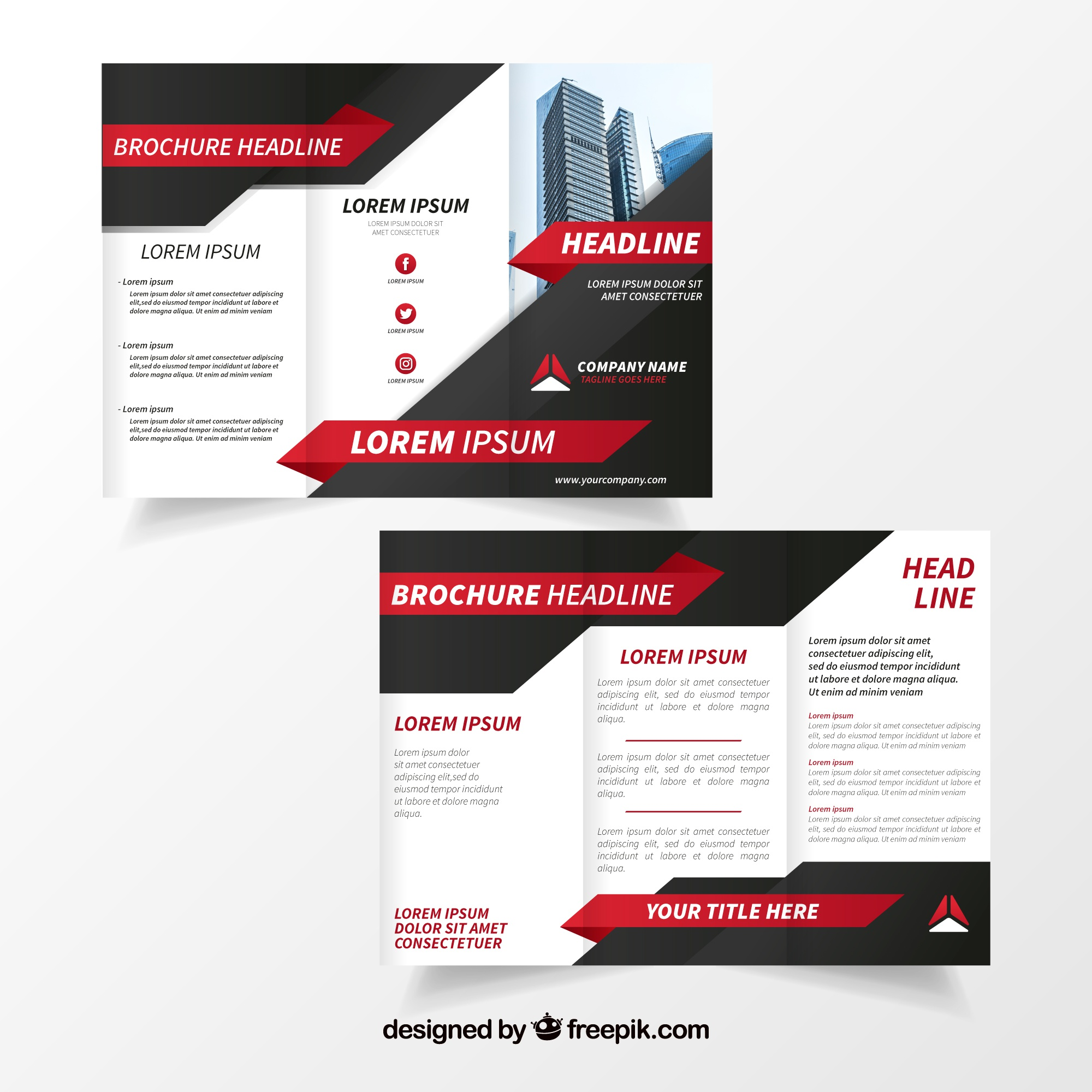 Black and white business brochure with red details