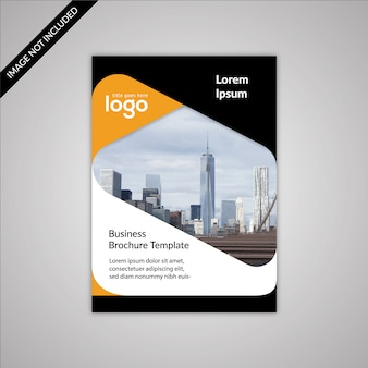 Black and white business brochure with yellow details