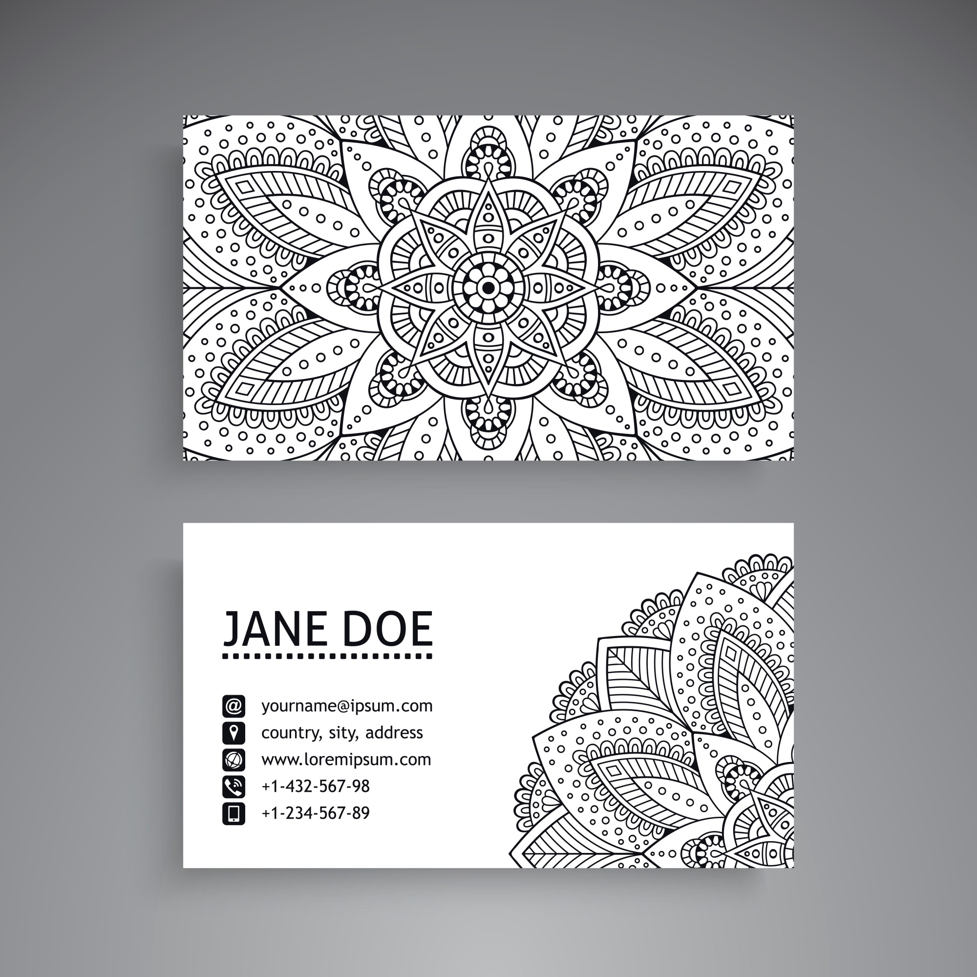 Black and white business card with mandala concept