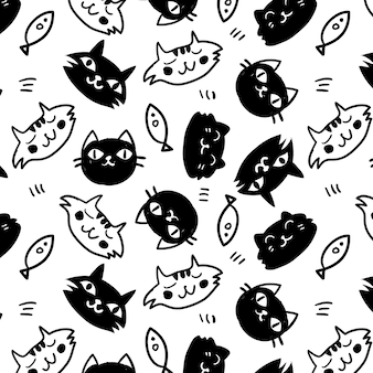 Black and white cats pattern background