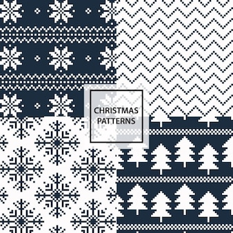 Black and white christmas patterns