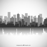 Black and white city skyline