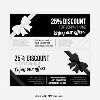 Black and white coupons with great discounts