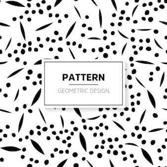 Black and white doodle pattern with dots and lines