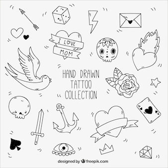Black and white elements for vintage tattoos