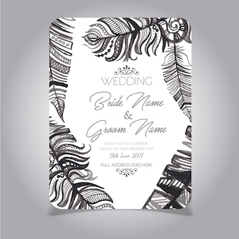 Black and white feather wedding card