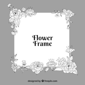 Black and white floral frame background