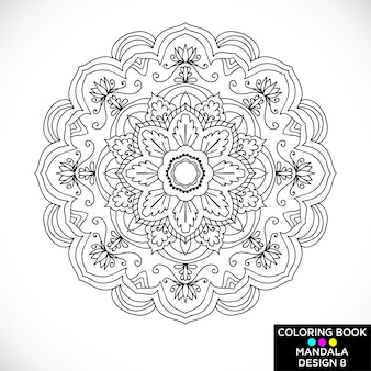 Black and white floral mandala for coloring book