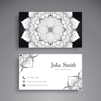 Black and white floral mandala visiting card