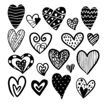 Black and white hearts collection