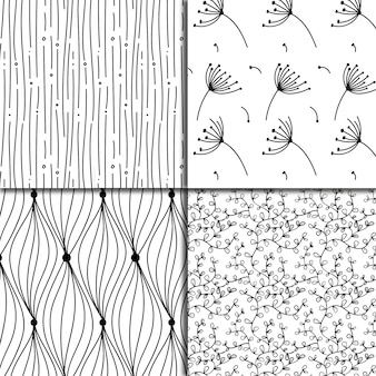 Black and white leaves pattern background collection