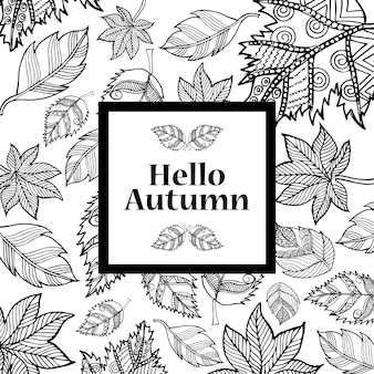 Black And White Line Art Autumn Backgrounds