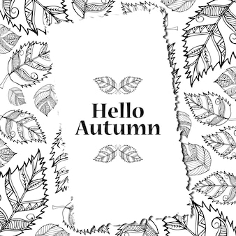 黒と白のラインアートの秋の背景