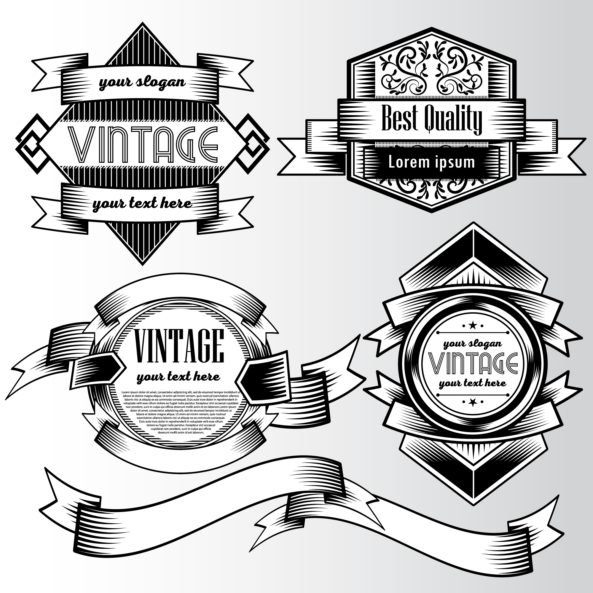 Black and white logo with ribbons
