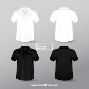 Black and white male polo shirt templante
