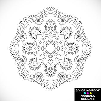 Black and white mandala for coloring book