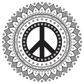 Black and white mandala with peace symbol