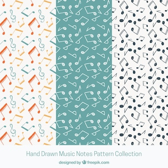 Black and white music notes pattern background